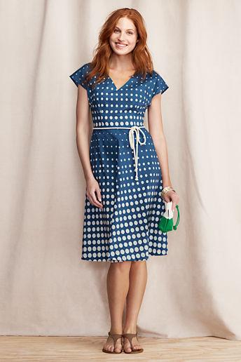 Lands' End Canvas Women's Polka Dot V-neck Dress