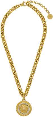 Gold Large Medusa Crystal Chain Necklace
