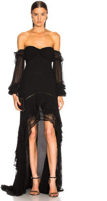 Jonathan Simkhai Embroidered Chiffon Off Shoulder Gown in Black | FWRD
