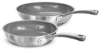 Martha Stewart Set of Two Stainless Steel Fry Pans