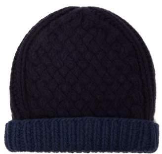 Prada Basket Knitted Wool Blend Beanie Hat - Mens - Navy