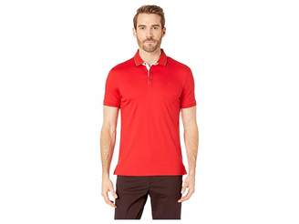 Calvin Klein Short Sleeve Solid Tipped Rib Collar Contrast Placket Collar Standard Polo