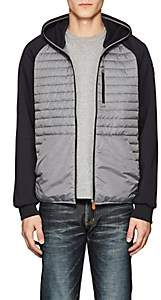 Save The Duck SAVE THE DUCK MEN'S JERSEY-SLEEVE CHANNEL-QUILTED JACKET-DARK GRAY SIZE XXL