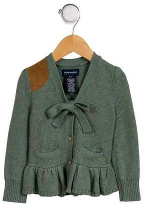 Ralph Lauren Girls' Peplum Button-Up Cardigan