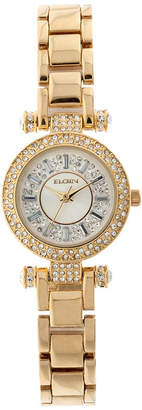Elgin Womens Gold Tone Crystal Accent T-Bar Bracelet Watch Eg9993