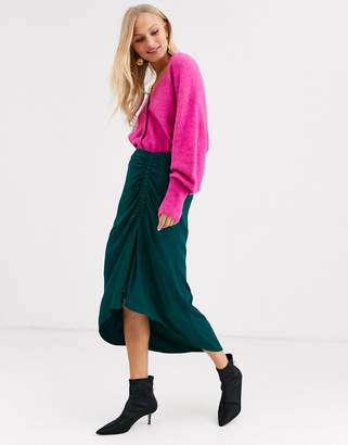 And other stories &  ruched midi skirt in bottle green