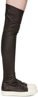 Rick Owens Black Stocking Over-the-Knee Boots