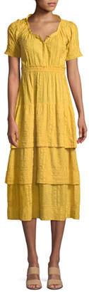LoveShackFancy Heather Short-Sleeve Tiered Midi Dress