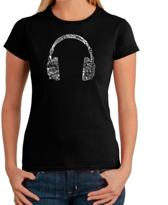 Women's Word Art Headphones in Languages T-Shirt in Black $19.99 thestylecure.com