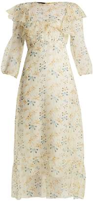 Rochas Round-neck dragonfly-print silk dress