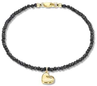 Carissima Gold Women's 9 ct Yellow Gold 0.01 ct Diamond Set Heart Charm on Black Spinel Bracelet of Length 19 cm/7.5 Inch