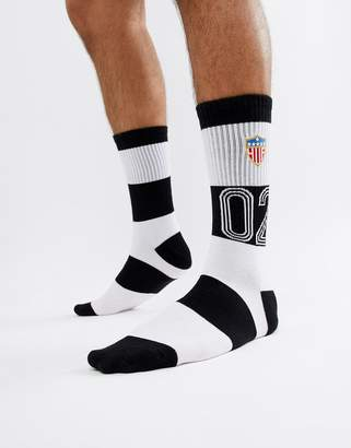 HUF play maker striped socks in black