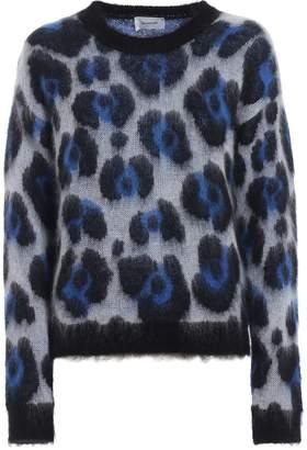 Dondup Animal Print Jacquard Mohair Blend Sweater