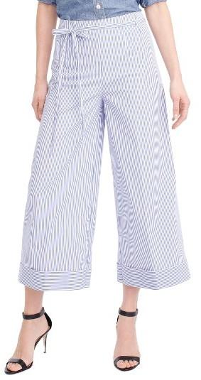Women's J.crew Stripe Wide Leg Crop Pants