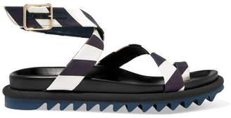 Dries Van Noten Striped Satin Sandals - Black