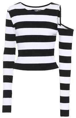 Amiri Striped cotton and cashmere top