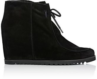 Barneys New York Women's Shearling-Lined Wedge Ankle Boots-BLACK $395 thestylecure.com