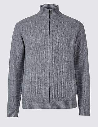 Marks and Spencer Cotton Rich Textured Zip Through Cardigan