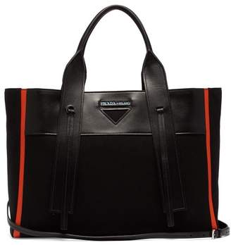 Prada Ouverture Canvas And Leather Tote - Womens - Black Orange