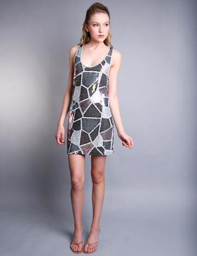 LaRok Sequin Patchwork Mini Dress