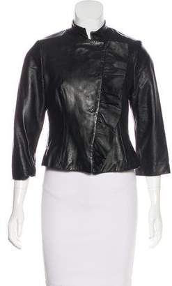 Twelfth Street By Cynthia Vincent Leather Ruffled Jacket