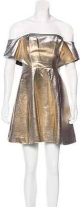 Sandro Metallic Off-The-Shoulder Dress w/ Tags $65 thestylecure.com