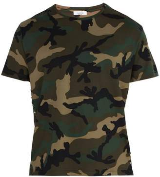 Valentino Studded Camouflage Print Cotton T Shirt - Mens - Green