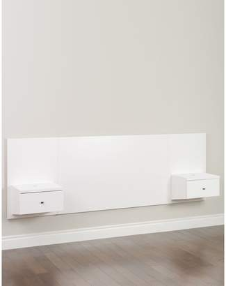 Prepac Floating Queen Headboard with Nightstands