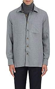 Luciano Barbera MEN'S HOUNDSTOOTH COTTON SHIRT - LIGHT GRAY SIZE S