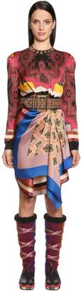 Etro Draped Asymmetric Printed Satin Dress