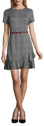 London Times Short Sleeve Plaid Fit & Flare Dress