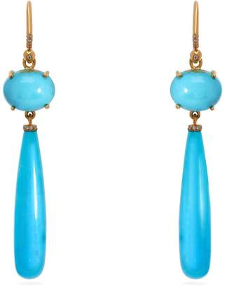 Irene Neuwirth 18kt gold, diamond & Kingman turquoise earrings