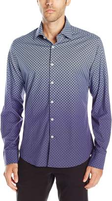 Stone Rose Men's Geometric Gradient Print Long Sleeve Button Down Shirt