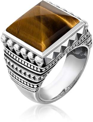 Thomas Sabo Blackened 925 Sterling Silver Ethnic Skulls Brown Tiger Eye Ring