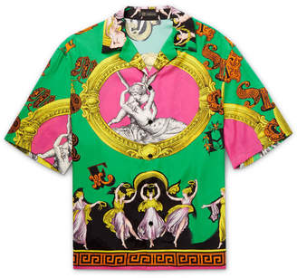 Versace Camp-Collar Printed Woven Shirt
