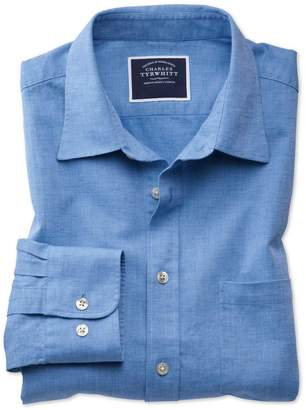 Charles Tyrwhitt Slim Fit Bright Blue Cotton Linen Cotton Linen Mix Casual Shirt Single Cuff Size Large