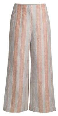 Lafayette 148 New York Downing Striped Linen Cropped Wide-Leg Pants