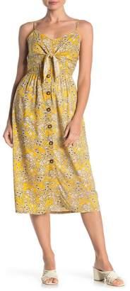 Mimichica Mimi Chica Front Tie Floral Print Midi Dress
