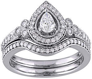 Affinity Diamond Jewelry Pear & Round Diamond 2-Piece Ring Set, 5/8 cttw