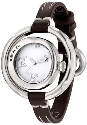 Uno de 50 Women's How Long Quartz Brown Leather Strap Watch