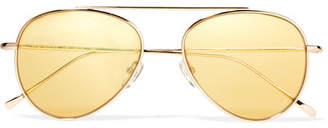 Illesteva Dorchester Aviator-style Gold-tone Sunglasses - one size