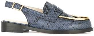 Le Mocassin Zippe blue python skin loafers