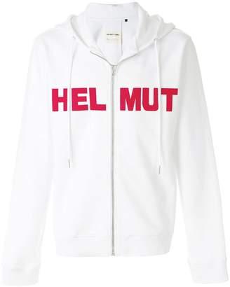 Helmut Lang logo print zipped hoodie