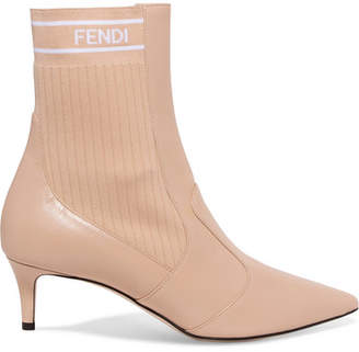 Fendi Logo-jacquard Ribbed Stretch-knit And Leather Sock Boots - Beige