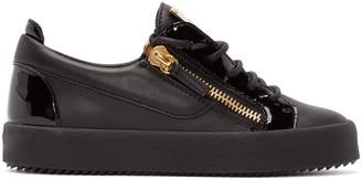 Giuseppe Zanotti Black Leather London Sneakers $650 thestylecure.com