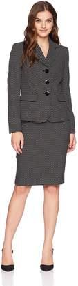 Le Suit LeSuit Women's Novelty DOT 3 Bttn Notch Lapel Skirt Suit