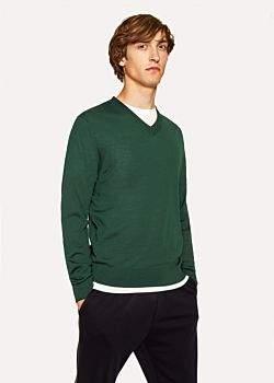 Paul Smith Men's Dark Green V-Neck Merino Wool Sweater