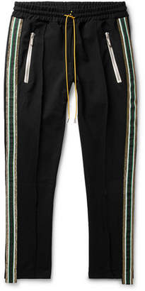 Rhude Traxedo Tapered Cropped Webbing-Trimmed Satin-Jersey Drawstring Trousers