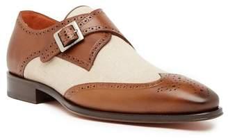 Mezlan Leather & Linen Monk Strap Wingtip Loafer