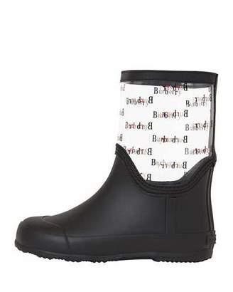 Burberry Frosty Logo-Print Transparent Rain Boots, Toddler/Kids